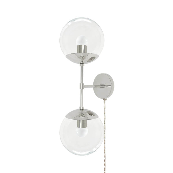 nickel cap double globe plug in wall sconce 8 inch dutton brown lighting