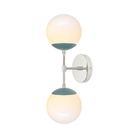 polished nickel and lagoon double cap globe vanity wall sconce 6 inch dutton brown ligthing midcentury modern