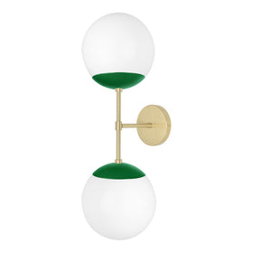 "Brass and kelly green cap double wall sconce 8"" dutton brown lighting"