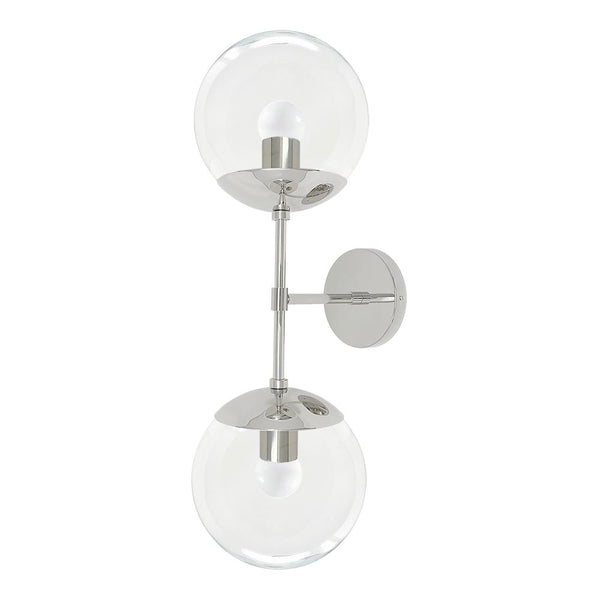 wall sconce lights mid century modern cap double sconce 8 inch nickel clear globe light fixture