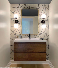 brass cap double sconce 6 bathroom vanity lighting by Dutton Brown. Space by Fox Homes. Photo by Tiffany Mueller. _hover