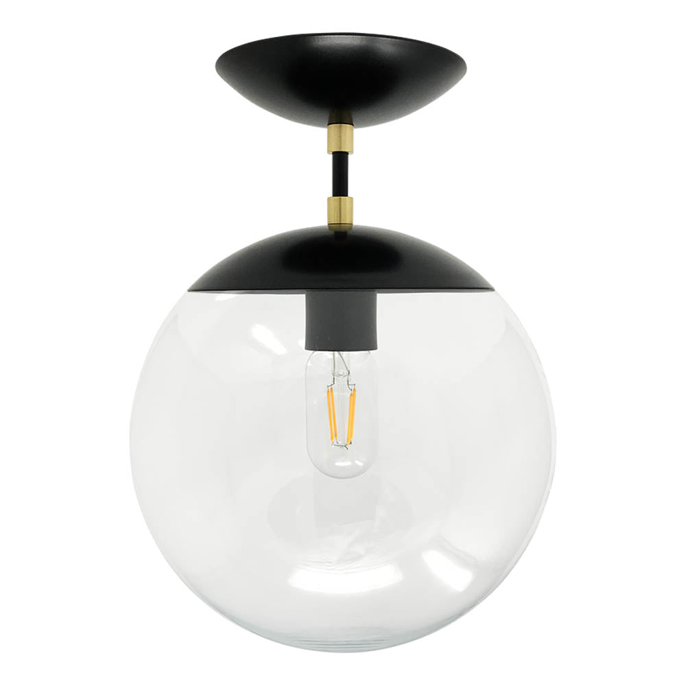 Cap globe flush mount 10 lighting flush mount ceiling light fixtures cap flush mount clear globe black brass 10 inch mid century aloadofball Choice Image
