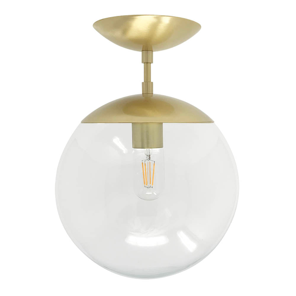 Flush mount ceiling light fixtures cap flush mount clear globe brass 10 inch mid century modern