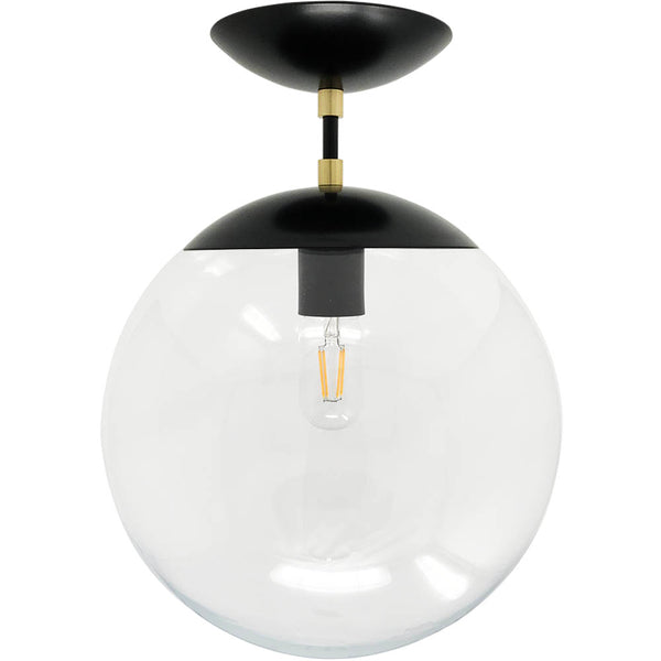 flush mount ceiling light fixtures cap flush mount clear globe black brass 12 inch mid century modern custom lighting