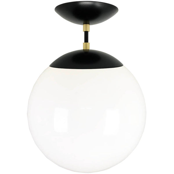 flush mount ceiling light fixtures cap flush mount white globe black brass 12 inch mid century modern custom lighting