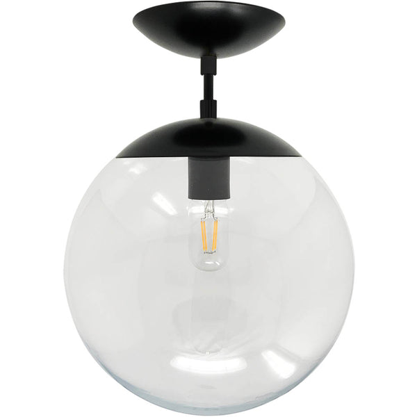 flush mount ceiling light fixtures cap flush mount clear globe black 12 inch mid century modern custom lighting