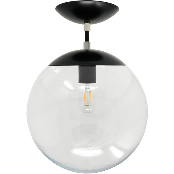 flush mount ceiling light fixtures cap flush mount clear globe black nickel 12 inch mid century modern custom lighting _hover