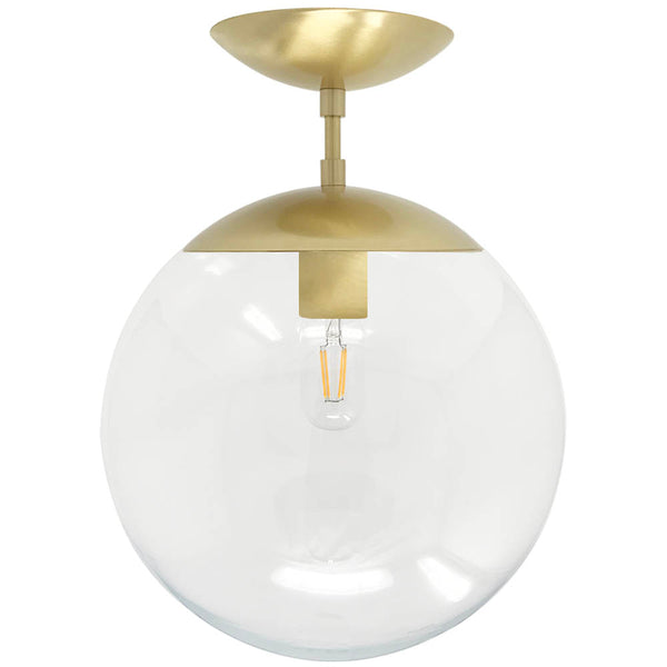 flush mount ceiling light fixtures cap flush mount clear globe brass 12 inch mid century modern custom lighting