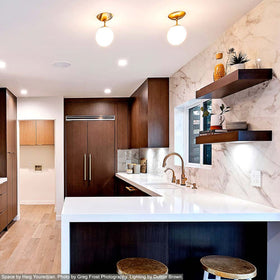 "cap flush mount 6"" brass kitchen island lighting Dutton Brown. Space by Haig Youredjian. Photo by Greg Frost Photography. _hover"