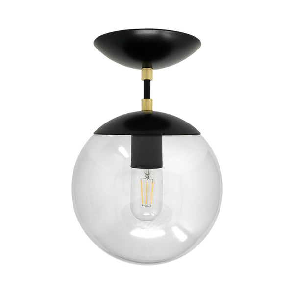 flush mount ceiling light fixtures cap flush mount clear globe black brass 8 inch mid century modern custom lighting
