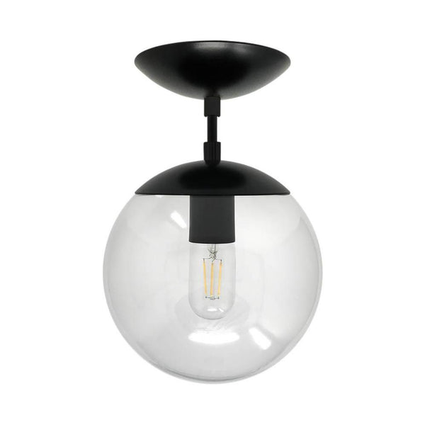 flush mount ceiling light fixtures cap flush mount clear globe black 8 inch mid century modern custom lighting