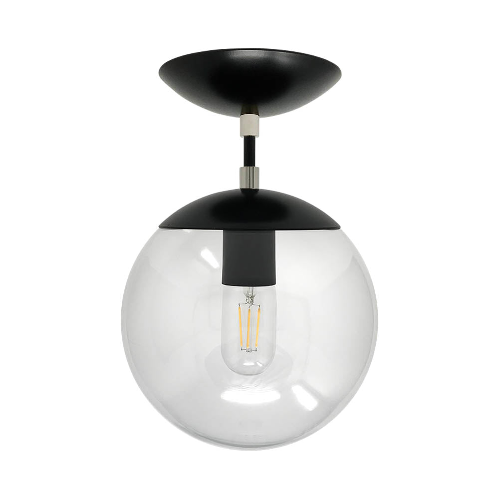 Flush mount ceiling light fixtures cap flush mount clear globe black nickel 8 inch mid century