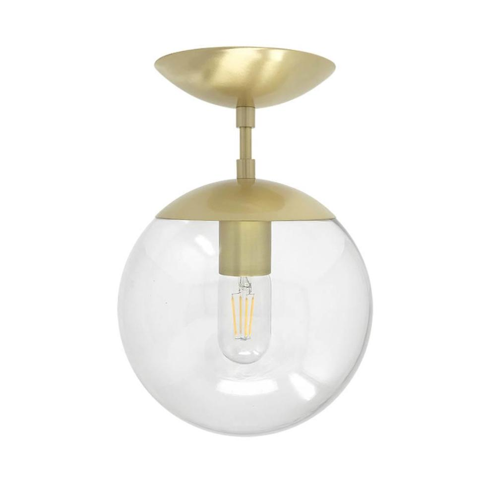 flush mount ceiling light fixtures cap flush mount clear globe brass 8 inch mid century modern custom lighting