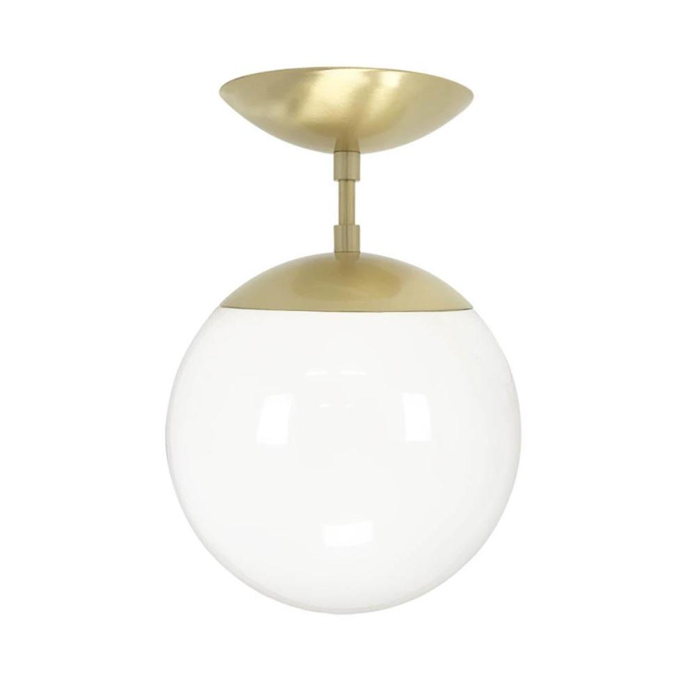 Flush mount ceiling light fixtures cap flush mount white globe brass 8 inch mid century modern