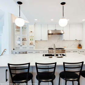 "cap globe pendant 10"" black nickel kitchen pendant lighting by Dutton Brown. space by HQ Design + Build. _hover"
