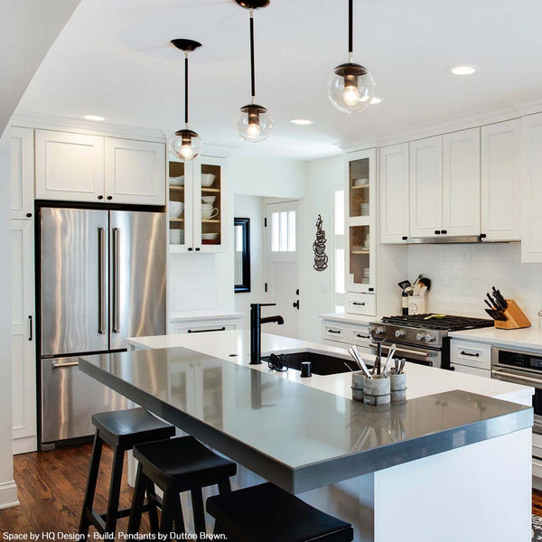 "black nickel cap globe pendant 6"" lighting by dutton brown kitchen island lighting _hover"