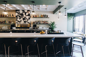 "black brass cap globe pendant 8"" jess hicks kimberly motos clara carlsbad restaurant bar lighting dutton brown _hover"