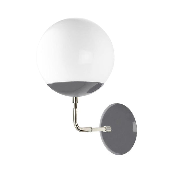 8 inch nickel charcoal cap globe wall sconce midcentury modern