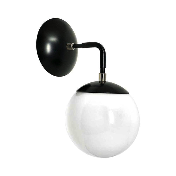 "blawall lights mid century modern cap sconce 6"" black nickel finish white globe light fixture"