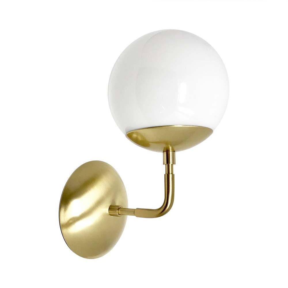 "wall lights mid century modern cap sconce 6"" brass finish white globe light fixture"