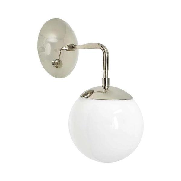 "wall lights mid century modern cap sconce 6"" nickel finish white globe light fixture"