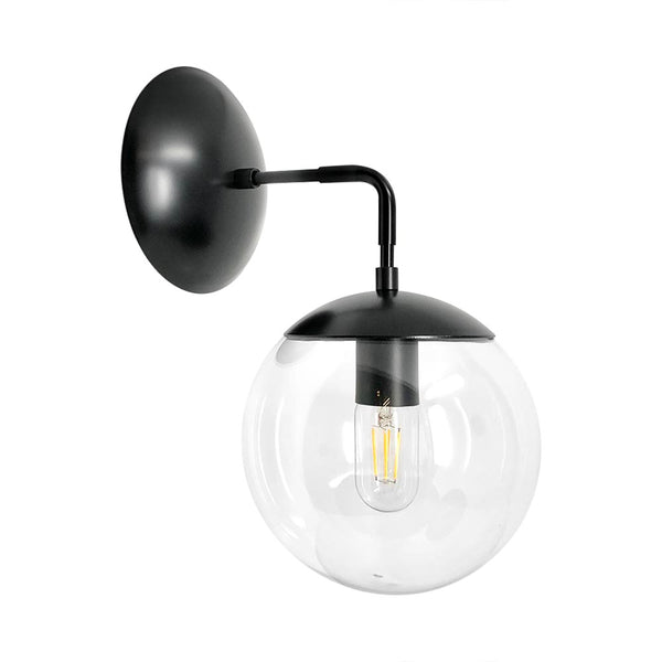 wall lights mid century modern cap sconce 8 inch black clear globe light fixture