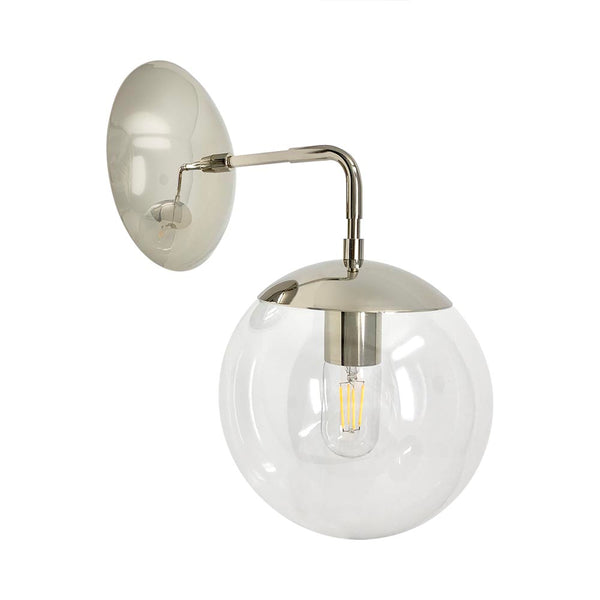 wall lights mid century modern cap sconce 8 inch nickel clear globe light fixture
