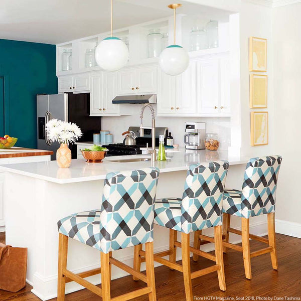 _hover two color cap teal globe pendants above kitchen island hgtv magazine dutton brown