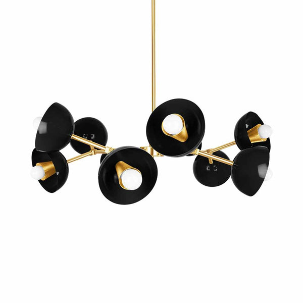 Black and Brass Crown Cup Chandelier Lighting