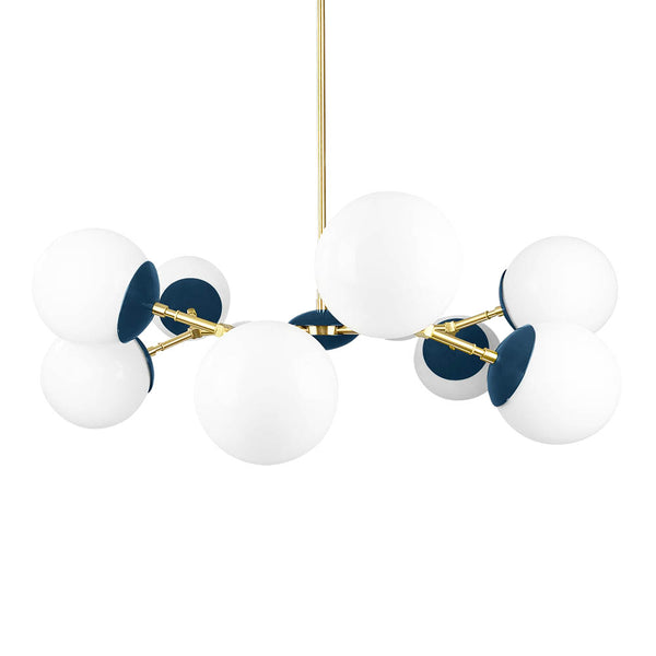 brass slate blue crown globe chandelier 32'' dutton brown lighting midcentury modern ceiling light