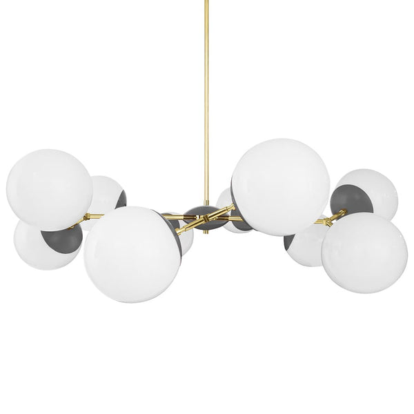 brass charcoal crown globe chandelier 46 inch dutton brown lighting