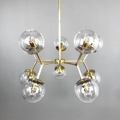 _hover brass high crown globe chandelier dining room lighting