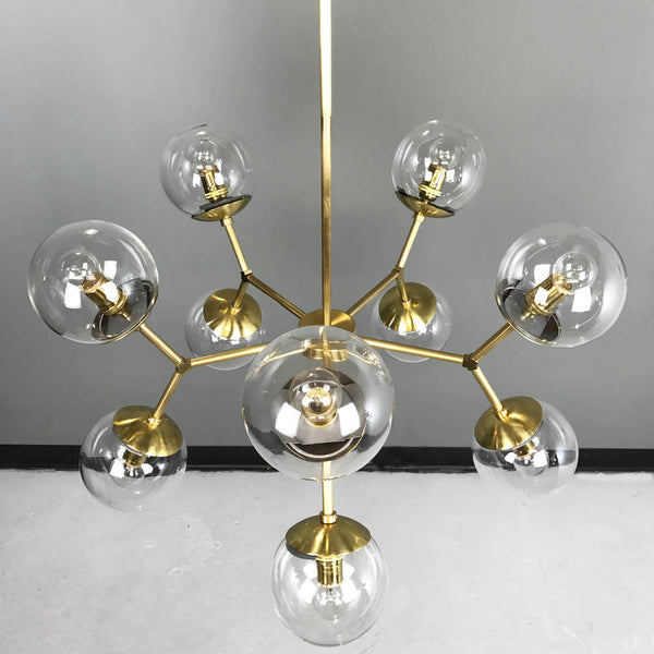 brass high crown globe chandelier dining room lighting