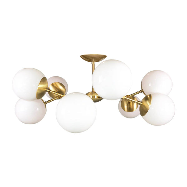brass crown globe flush mount chandelier dutton brown design mid century modern lighting