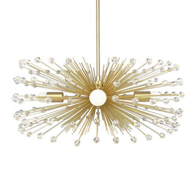 gold acrylic crystal beaded urchin chandelier lighting by Dutton Brown.