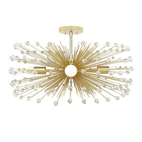 "crystal beaded gold urchin flush mount chandelier lighting 27"" by Dutton Brown."
