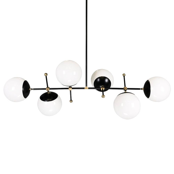 black and brass Cumula globe chandelier lighting white globes Dutton Brown mid century lighting