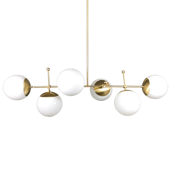 Cumula brass white sphere globe chandelier lighting Dutton Brown mid century lighting