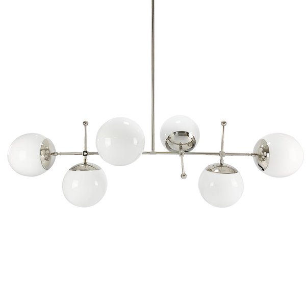 nickel Cumula globe chandelier lighting white globes Dutton Brown mid century lighting