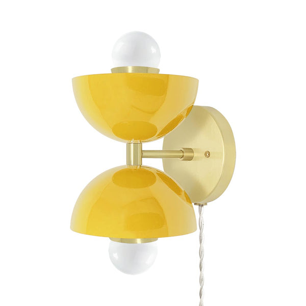 brass ochre double cup plug-in wall sconce dutton brown lighting _hover