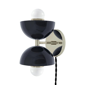 nickel navy double cup plug-in wall sconce dutton brown lighting