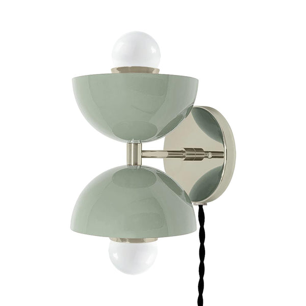 nickel spa double cup plug-in wall sconce dutton brown lighting