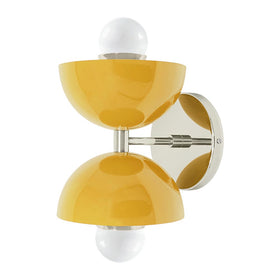 nickel and ochre yellow cup double wall sconce dutton brown lighting