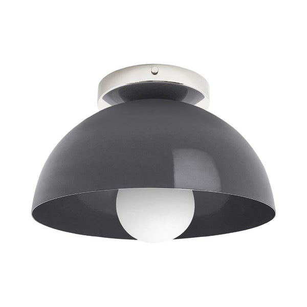 nickel charcoal hemi dome flush mount 10 inch dutton brown lighting