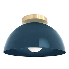 brass and slate blue hemi dome flush mount lighting dutton brown design