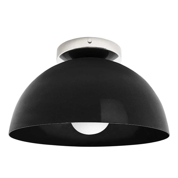 nickel and black hemi dome flush mount 12 inch dutton brown lighting