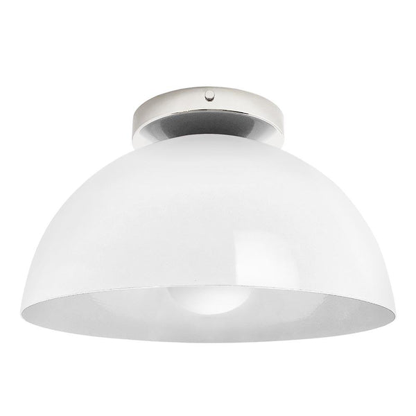 nickel and white hemi dome flush mount 12 inch dutton brown lighting