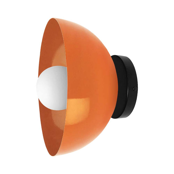 , orange black color hemi dome wall sconce 10'' dutton brown lighting