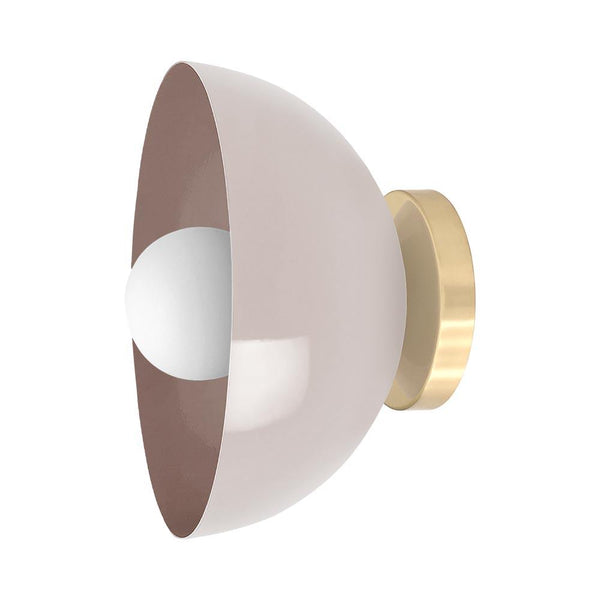 brass barely color hemi dome wall sconce 10'' dutton brown lighting