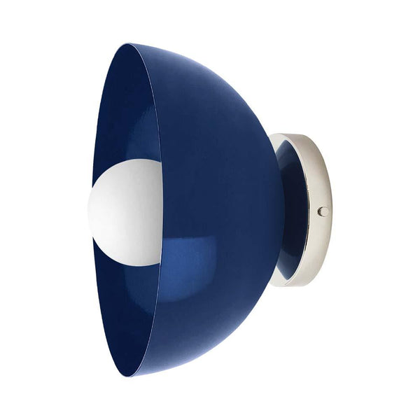 cobalt nickel color hemi dome wall sconce 10'' dutton brown lighting